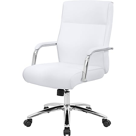 Boss Office Products Modern Executive Ergonomic Bonded Leather Mid-Back Conference Chair, White