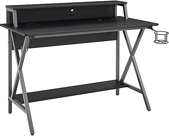 "Linon Garland 48""W LED Gaming Desk, Black/Gray"