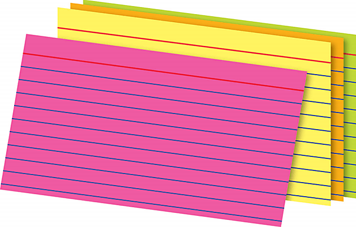 """Office Depot® Brand Glow Index Cards, 3"""" x 5"""", Assorted Colors, Pack Of 300"""