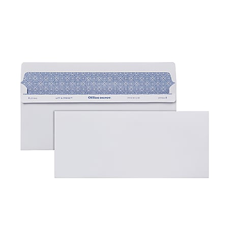 Office Depot® Brand #10 Lift & Press™ Premium Security Envelopes, Self Seal, 100% Recycled, White, Box Of 100