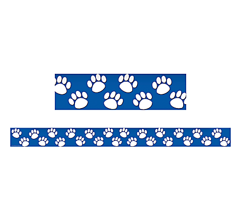 """Teacher Created Resources Border Trim, 3"""" x 35"""", Blue With White Paw Prints, Pre-K - College, Pack Of 12"""