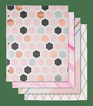 """Divoga® 2-Pocket Paper Folder, Modern Minimal Collection, 8 1/2"""" x 11"""", Letter Size, Assorted Designs"""