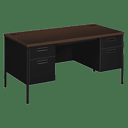 "HON® Metro Classic Double-Pedestal Desk, 60""W, Mocha/Black"