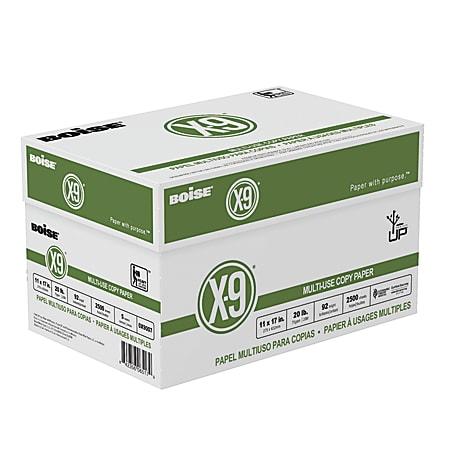 "Boise® X-9® Multi-Use Copy Paper, Ledger Size (11"" x 17""), 92 (U.S.) Brightness, 20 Lb, White, 500 Sheets Per Ream, Case Of 5 Reams"