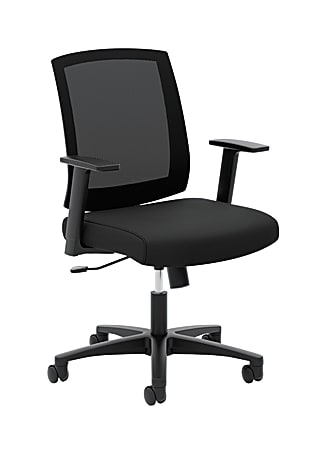 HON® Torch Task Chairs, Mesh Back, Fixed Arms, Black Seat, Fabric