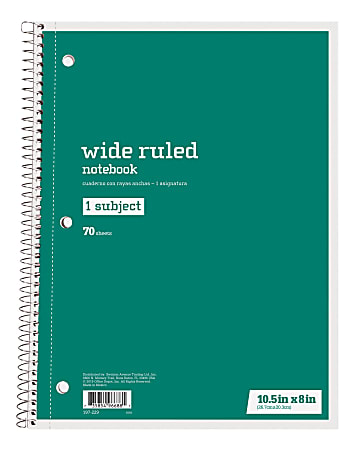 """Just Basics® Spiral Notebook, 8"""" x 10-1/2"""", Wide Ruled, 70 Sheets, Green"""