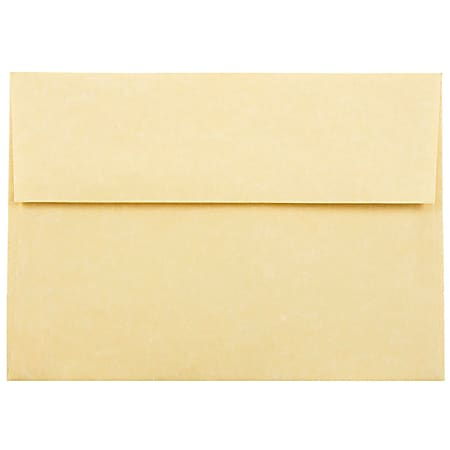"""JAM Paper® Parchment Booklet Invitation Envelopes (Recycled), A7, 5 1/4"""" x 7 1/4"""", 30% Recycled, Antique Gold, Pack Of 25"""