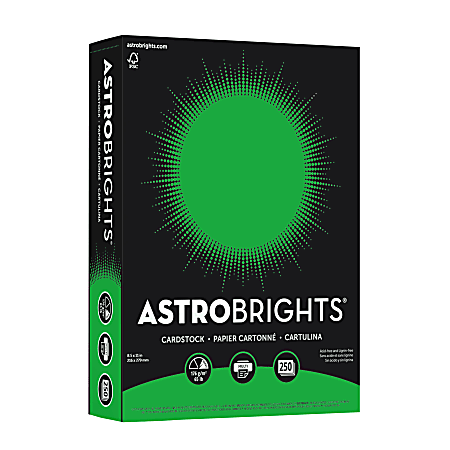 """Astrobrights® Color Card Stock, 8 1/2"""" x 11"""", FSC® Certified, 30% Recycled, 65 Lb, Gamma Green, Pack Of 250 Sheets"""