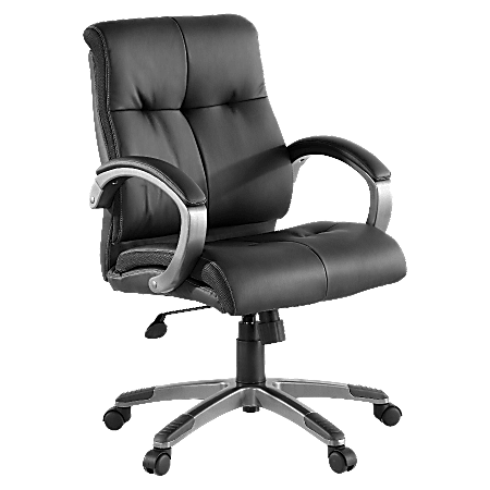 Lorell® Manager Bonded Leather Swivel Chair, Black