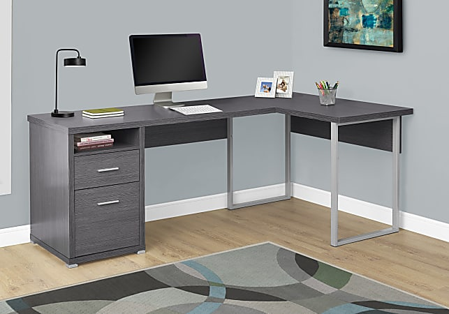 Monarch Specialties L-Shaped Computer Desk With 2 Drawers, Gray