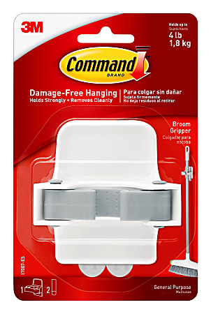 """Command™ Broom And Mop Grippers, 3 3/8""""H x 3 1/8""""W x 2 7/16""""D, Gray/White"""