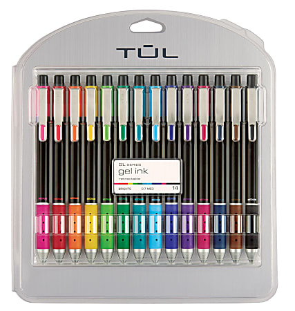 TUL® Limited Edition Brights Retractable Gel Pens, Medium Point, 0.7 mm, Assorted Barrel Colors, Assorted Ink Colors, Pack Of 14