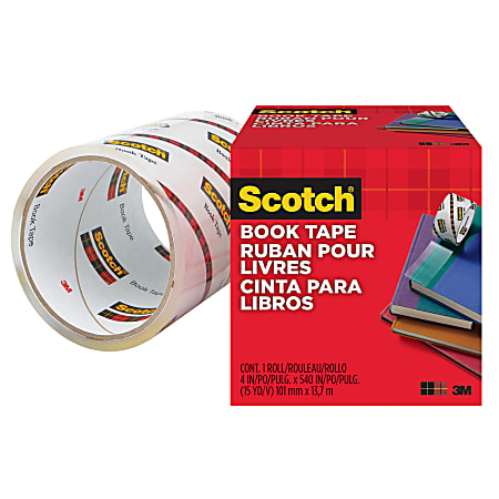 "Scotch Book Tape - 15 yd Length x 4"" Width - 3"" Core - Acrylic - 1 Roll - Clear"