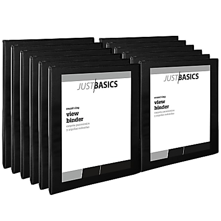 """Just Basics® View 3-Ring Binder, 1/2"""" Round Rings, 41% Recycled, Black, Pack Of 12"""
