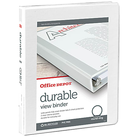 """Office Depot® Brand Durable View 3-Ring Binder, 1/2"""" Round Rings, 49% Recycled, White"""