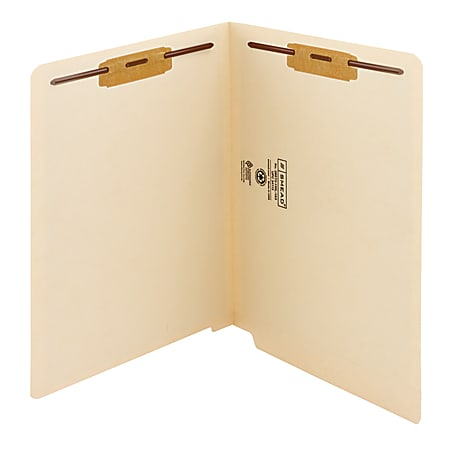 """Smead® End-Tab Folders With Fastener, 8 1/2"""" x 11"""", Letter, Manila, Box of 50"""
