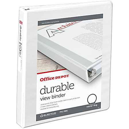 """Office Depot® Brand Durable View 3-Ring Binder, 1"""" Round Rings, 49% Recycled, White"""