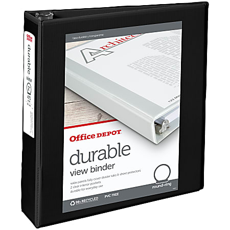 """Office Depot® Brand Durable View 3-Ring Binder, 2"""" Round Rings, 49% Recycled, Black"""