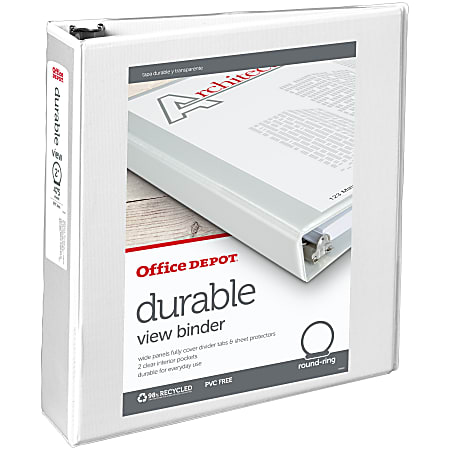 """Office Depot® Brand Durable View 3-Ring Binder, 2"""" Round Rings, 49% Recycled, White"""