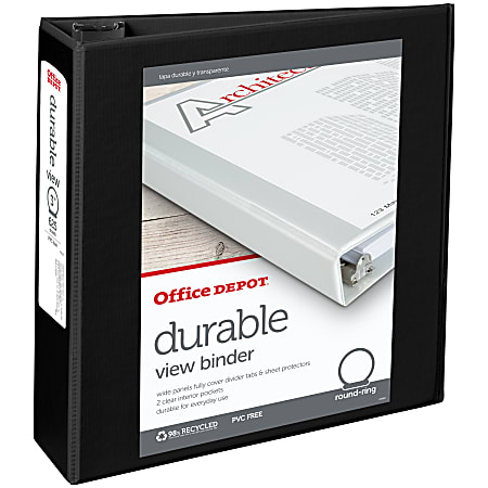 """Office Depot® Brand Durable View 3-Ring Binder, 3"""" Round Rings, 49% Recycled, Black"""