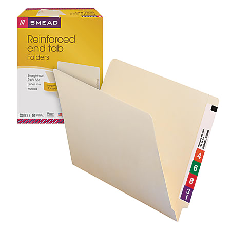 Smead® Manila Reinforced End-Tab Folders, Straight Cut, Letter Size, Pack Of 100