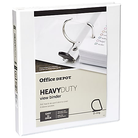 """Office Depot® Brand Heavy-Duty View 3-Ring Binder, 1"""" D-Rings, 49% Recycled, White"""