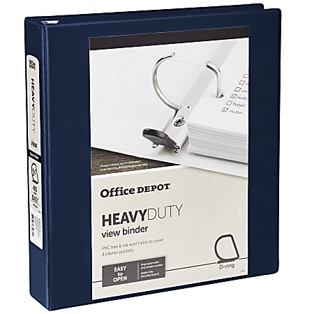 """Office Depot® Heavy-Duty View 3-Ring Binder, 1 1/2"""" D-Rings, 49% Recycled, Navy"""