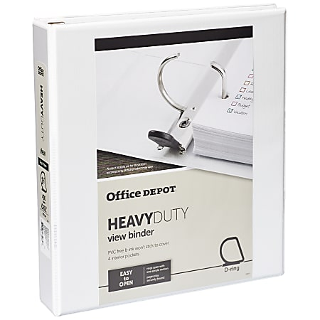 """Office Depot® Brand Heavy-Duty View 3-Ring Binder, 1 1/2"""" D-Rings, 49% Recycled, White"""