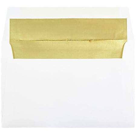JAM Paper® Foil-Lined Invitation Envelopes, A9, Gummed Seal, Gold/White, Pack Of 25