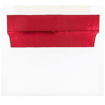 JAM Paper® Foil-Lined Invitation Envelopes, A9, Gummed Seal, Red/White, Pack Of 25