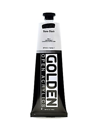 Golden OPEN Acrylic Paint, 5 Oz Tube, Bone Black