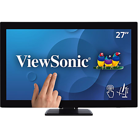 """Viewsonic TD2760 27"""" LCD Touchscreen Monitor - 16:9 - 6 ms with OD - 27"""" Class - Projected CapacitiveMulti-touch Screen - 1920 x 1080 - Full HD - 16.7 Million Colors - 230 Nit - LED Backlight - Speakers - HDMI - USB - VGA - DisplayPort - 3 Year"""