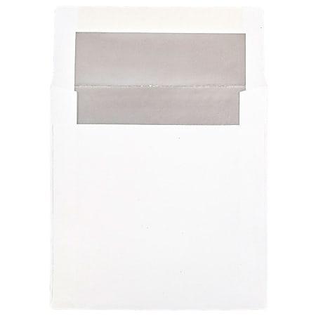 "JAM Paper® Foil-Lined Invitation Envelopes, 6"" x 6"", Gummed Seal, Silver/White, Pack Of 25"
