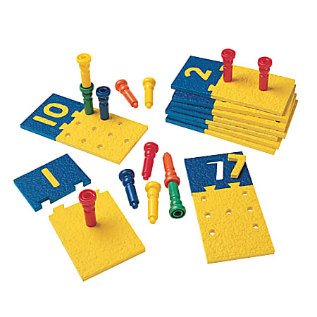 """Playmonster Number Puzzle Boards And Pegs, 4""""H x 8""""W x 13 1/2""""D, Grades Pre-K - 3, Pack Of 75"""