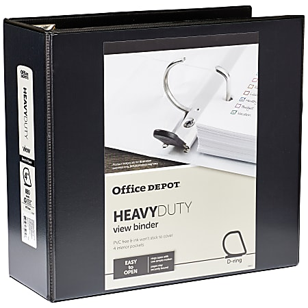 """Office Depot® Brand Heavy-Duty View 3-Ring Binder, 4"""" D-Rings, 49% Recycled, Black"""
