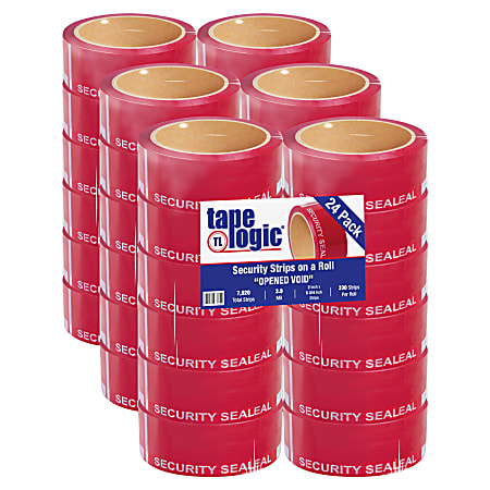 """Tape Logic® Security Strips, 3"""" Core, 2"""" x 5.75"""", Red, 330 Strips Per Roll, Case Of 24 Rolls"""