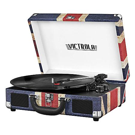 "Innovative Technology Victrola Bluetooth® Suitcase Record Player, 5""H x 10""W x 14""D, Union Jack"
