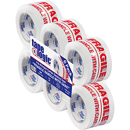 """Tape Logic® Fragile Handle With Care Preprinted Carton Sealing Tape, 3"""" Core, 3"""" x 110 Yd., Red/White, Case Of 6"""