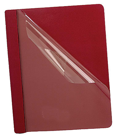 """Oxford™ Premium Clear Front Report Covers, 8 1/2"""" x 11"""", Red, Pack Of 25"""