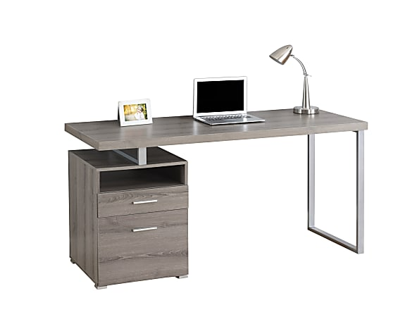 Monarch Specialties Contemporary Computer Desk With 2 Drawers And Open Shelf, Dark Taupe/Silver