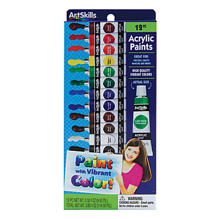 ArtSkills® Acrylic Paints, 0.32 Oz, Assorted Colors, Pack of 12