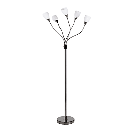 "LumiSource Medusa Contemporary Floor Lamp, 71-3/4""H, White Shade/Black Base"