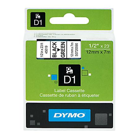 """DYMO® D1 45019 Black-On-Green Tape, 0.5"""" x 23'"""