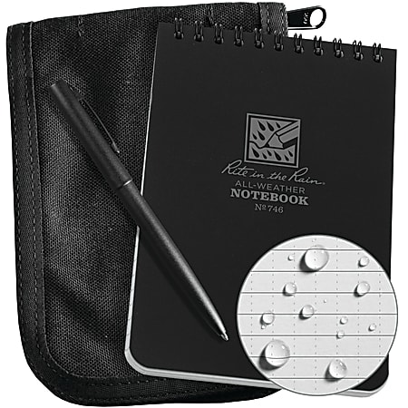 "Rite In The Rain® Pocket Top-Spiral Notebook Kit, 4"" x 6"", Black"