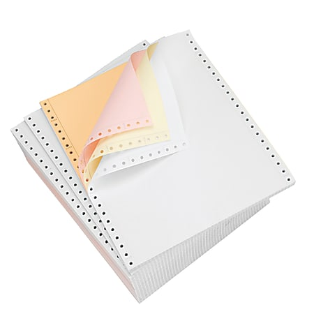 "Domtar Carbonless Continuous Forms, 4-Part, 9 1/2"" x 11"", Canary/Goldenrod/Pink/White, Carton Of 900 Forms"