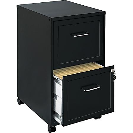 "Lorell® SOHO 18""D Vertical 2-Drawer Mobile File Cabinet, Black"