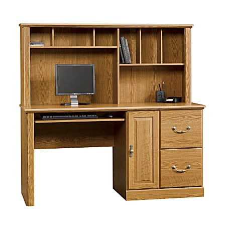 "Sauder® Orchard Hills 59""W Computer Desk With Hutch, Carolina Oak"