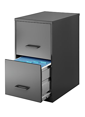 """Realspace® 18""""D Vertical 2-Drawer File Cabinet, Metal, Charcoal"""