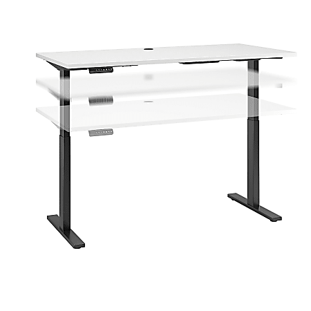 """Bush Business Furniture Move 60 Series 60""""W x 30""""D Height Adjustable Standing Desk, White/Black Base, Standard Delivery"""