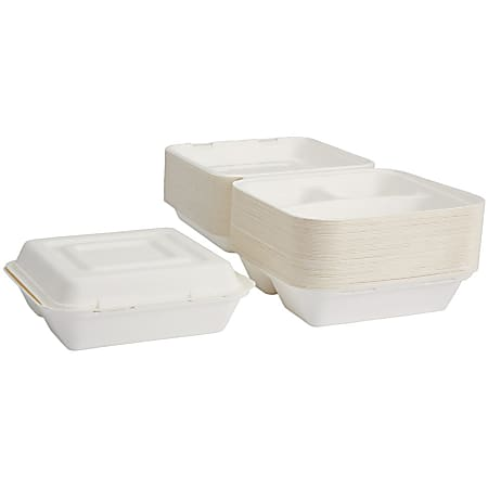"""Dixie 3-Compartment Clamshell Food Containers by GP Pro - 9"""" Diameter Food Container - Molded Fiber - Disposable - Microwave Safe - White - 50 Piece(s) / Pack"""